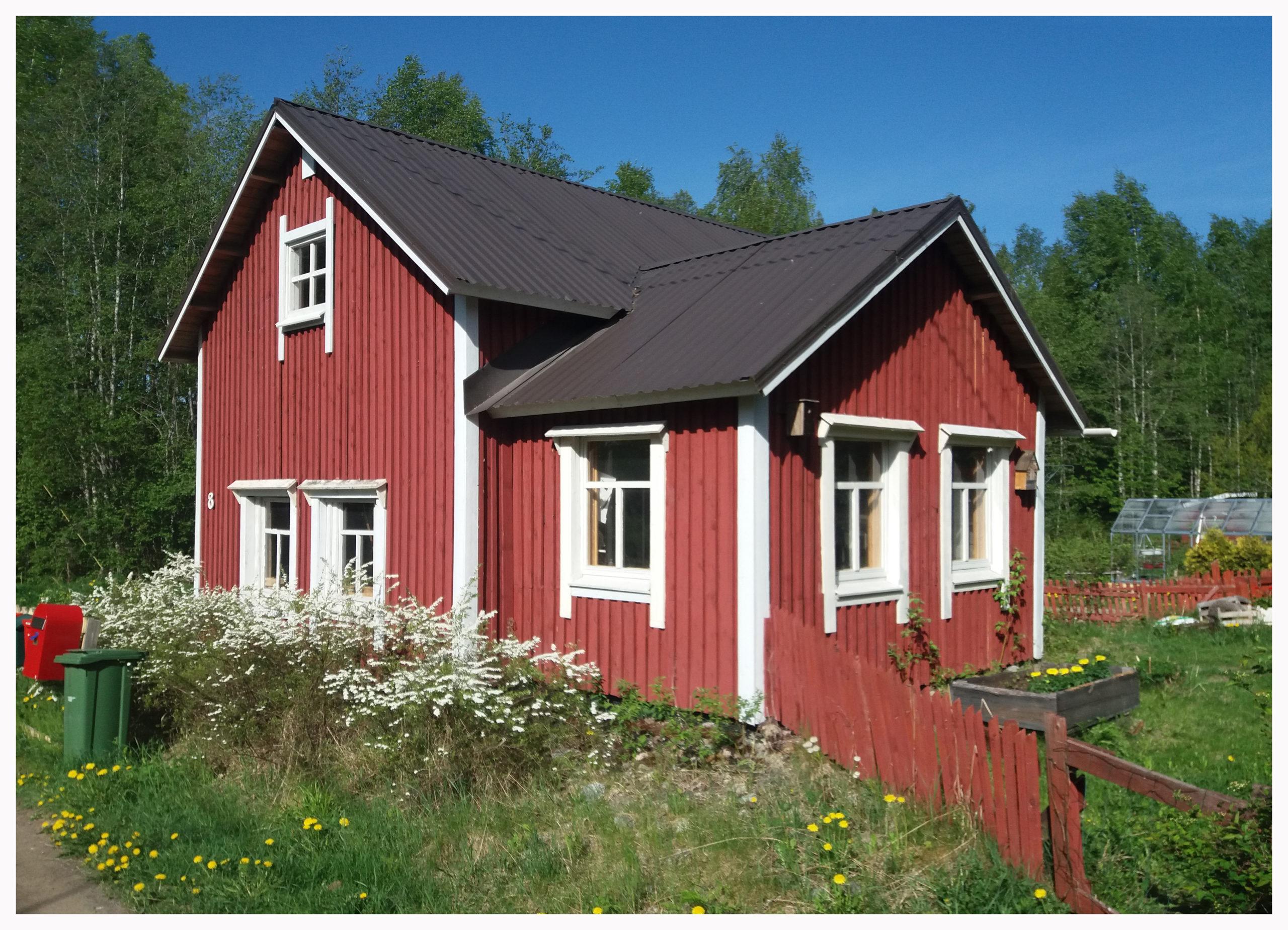 Vaarin verstas. Punainen mökki isolla kuistilla, punainen aita lähtee mökin kulmasta. Edustalla on paljon luonnonkukkia.